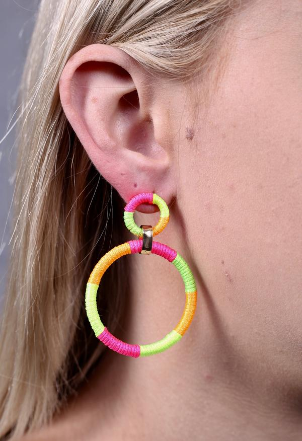 Lamens Neon Thread Wrapped Earring