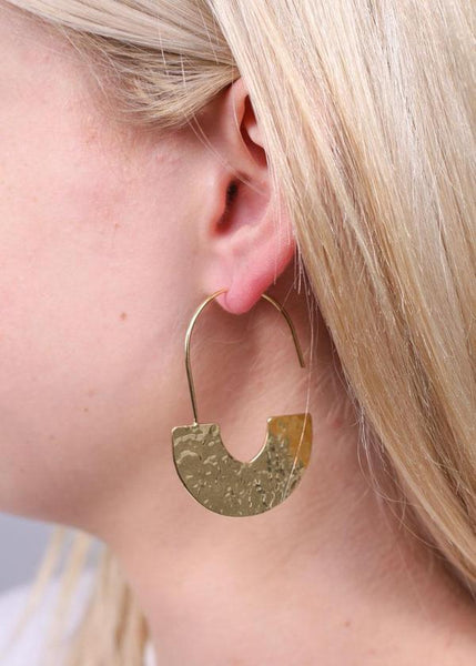 Wells Hammered Metal Earring