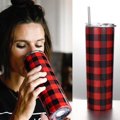 Stainless Steel Buffalo Plaid Tumbler