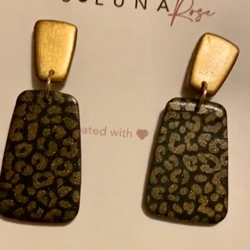 Dani Earrings- Gold and Black Leopard