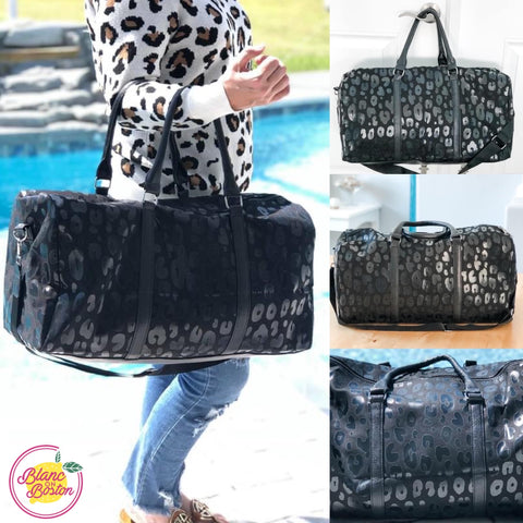 Black Leopard Duffle Bag