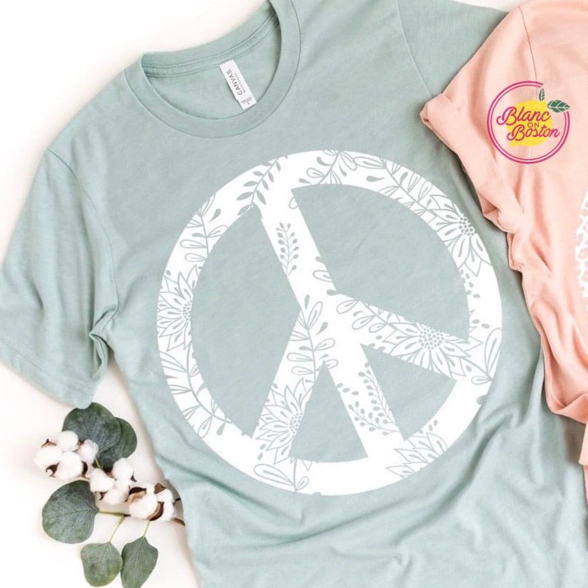 White Floral Peace Sign