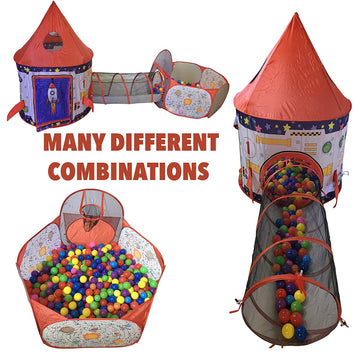 Rocket Ship Tent, Tunnel, & Ball Pit