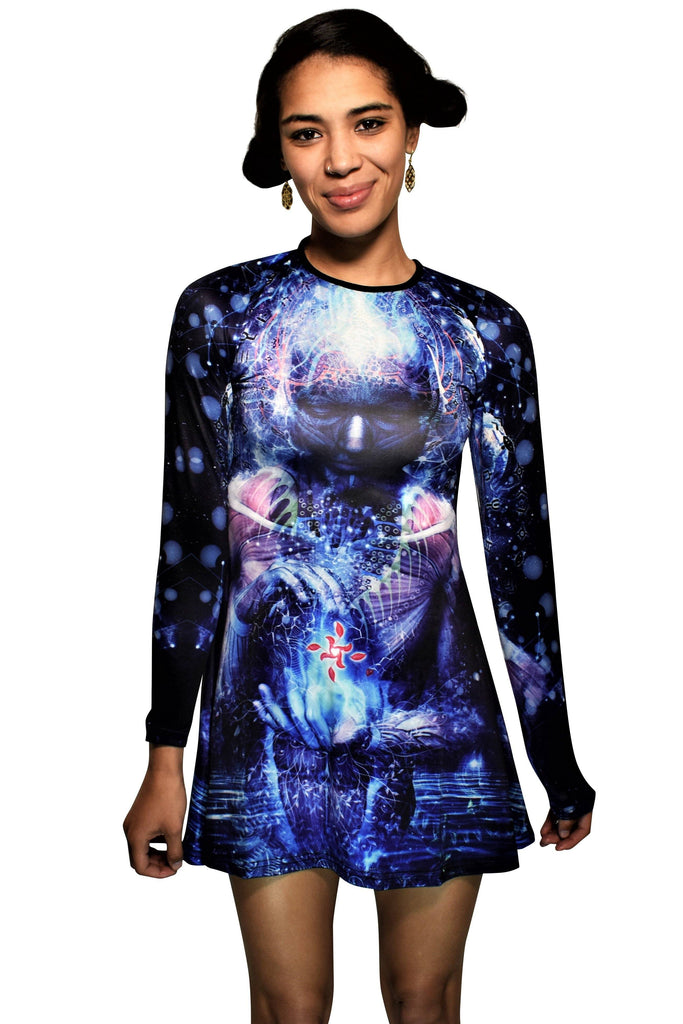 Cameron Gray-Silence Seekers Long Sleeve Skater Dress