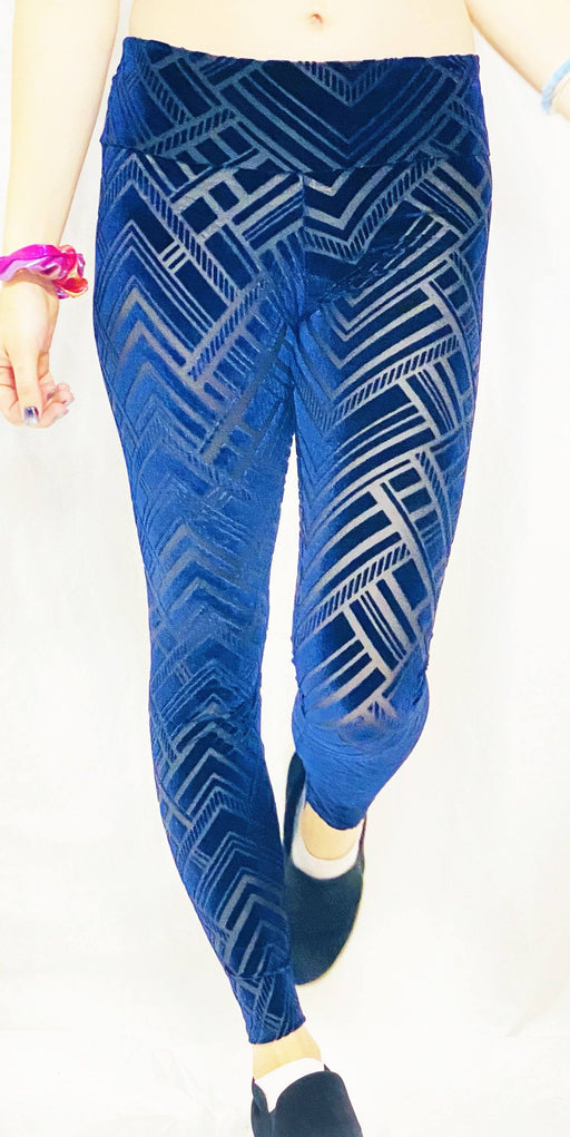 Warrior Within - Ocean Chevron Burnout Velvet Leggings