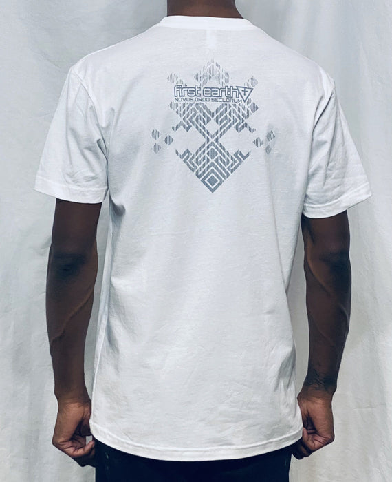 First Earth - Asanoha (White & Silver) T-SHIRT