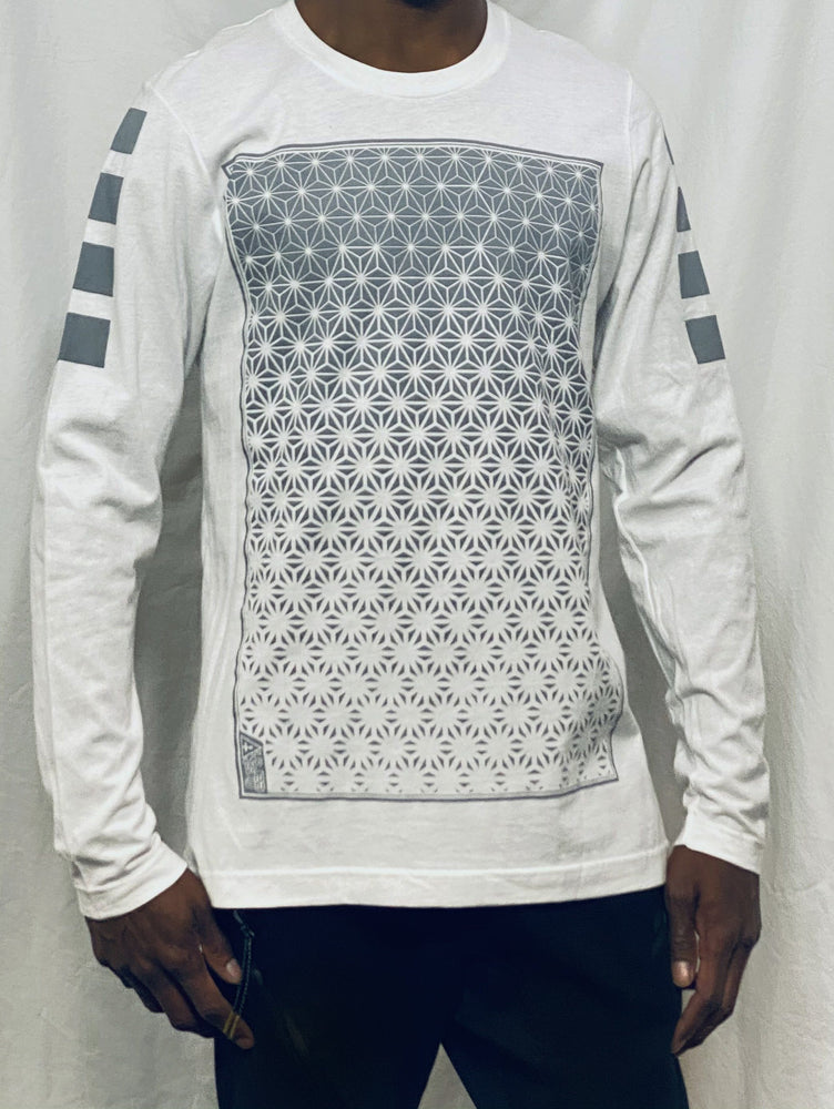 First Earth - Asanoha (White & Silver) Long Sleeve T-SHIRT