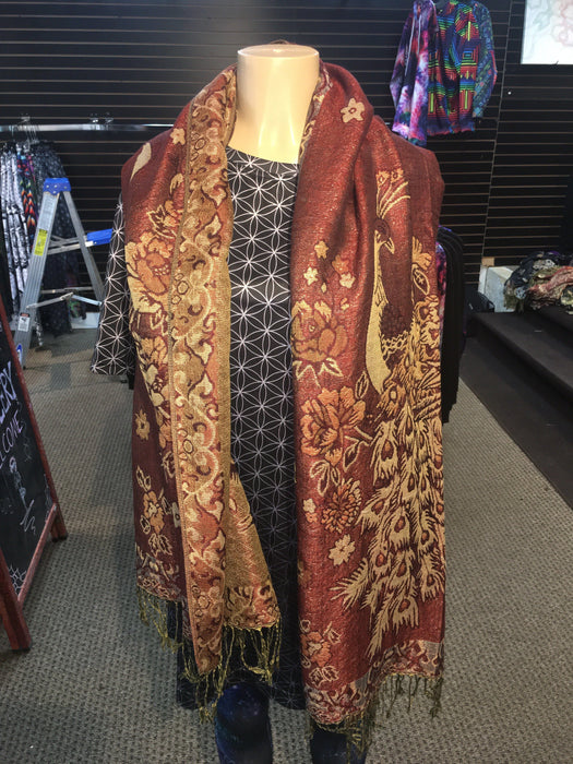 Pashmina - Peacock - Brick Red - Gold (shiny)