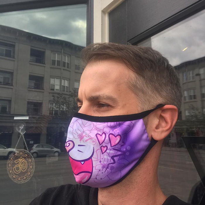 Sublimation Face Mask w/ Invisible Nose Clip & Filter - Love Cat - Stacy Pants.