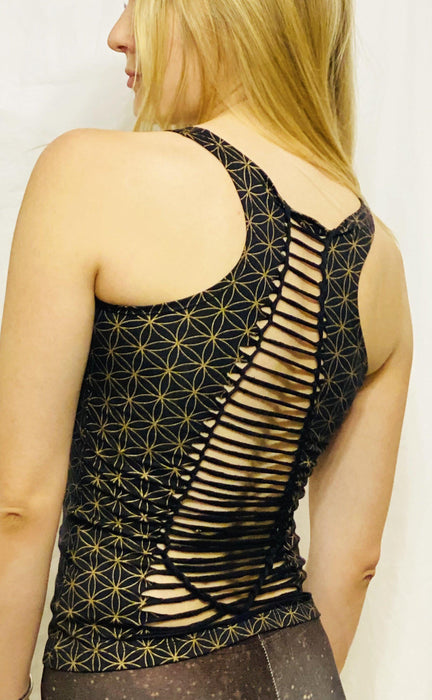 Onanya - Black & Gold Braided Tank Top