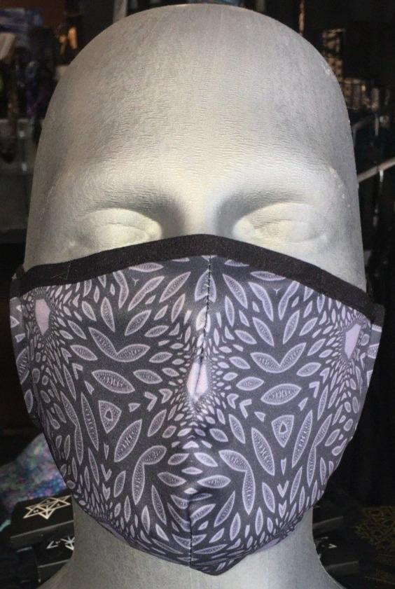 "Adjustable Sublimation Face Mask w/ Invisible Nose Clip - Cameron Gray ""Interconnection"""