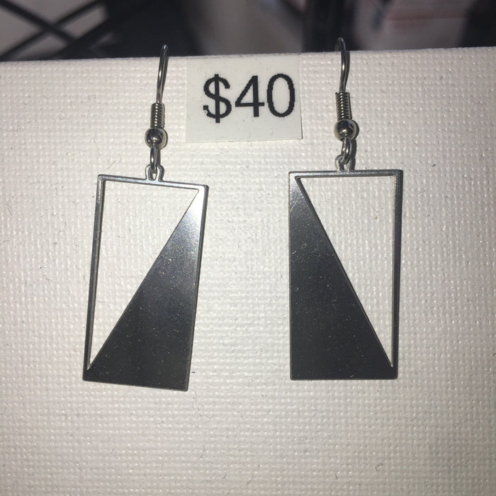 Rael Cohen Jewelry - ANGLE AND BALANCE EARRINGS STAINLESS STEEL DIM: 37mm x 11m