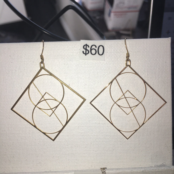 Rael Cohen Jewelry - SYNTHESIS EARRINGS 24K GOLD PLATED DIM: 47mm square