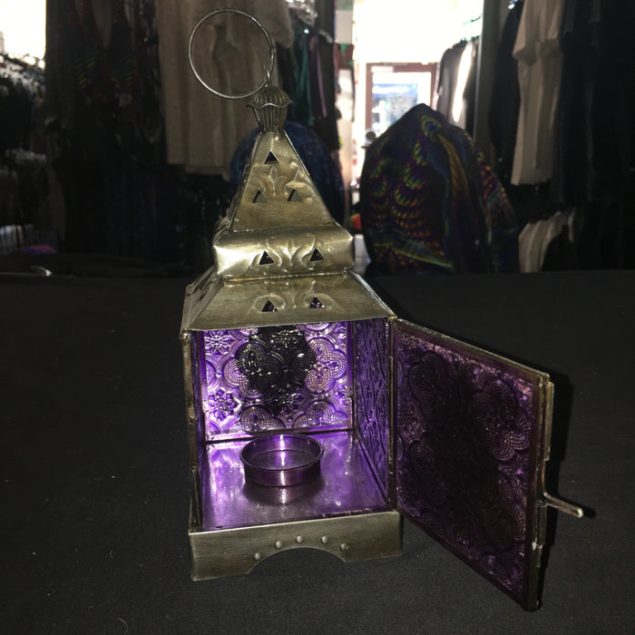 Stained Glass Hanging Brass - Candle Holder/Burner (square)