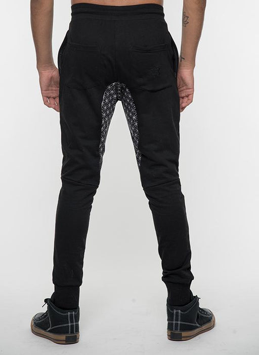 """Menkaure"" - Black Embroidered Joggers"