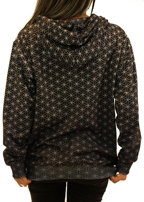 Black and Silver Flower of Life Zip Up Hoodie