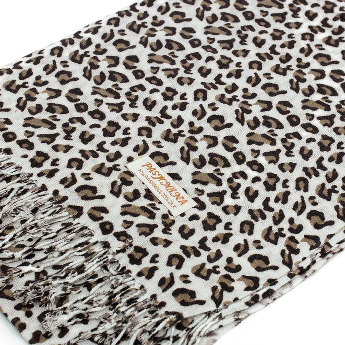 Pashmina - Leopard - White & Brown