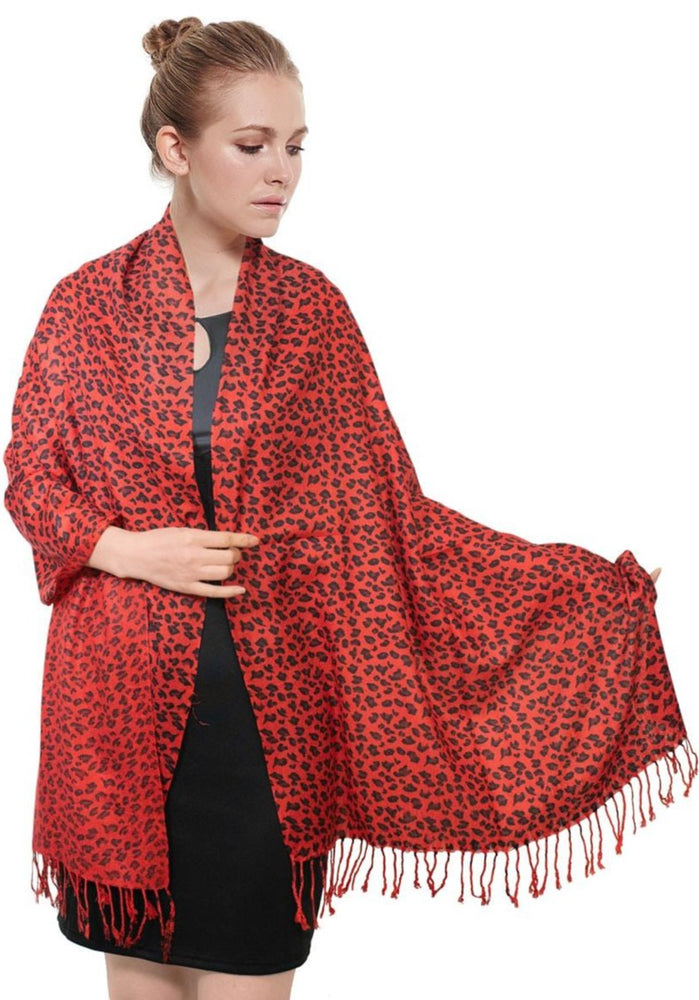 Pashmina - Leopard - Red