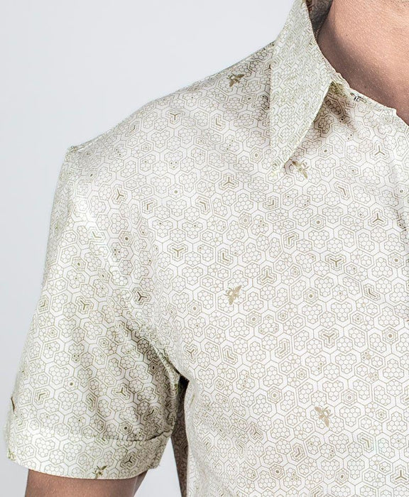"Seed of Life - ""Bees"" SS Button Up - White"