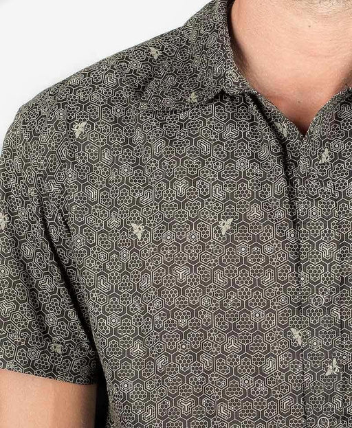 "Seed of Life - ""Bees"" SS Button Up - Black"