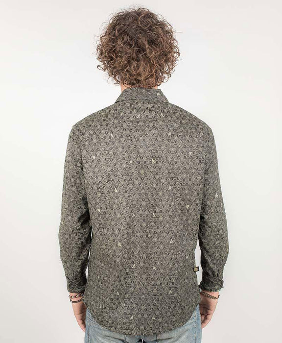 "Seed of Life - ""Bees"" LS Button Up - Black"