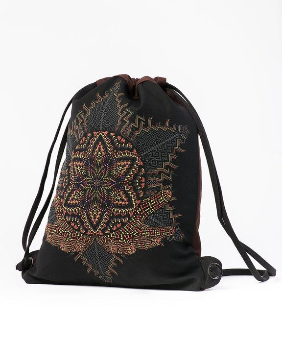 Seed of Life - Anahata Drawstring Backpack - Black & Brown