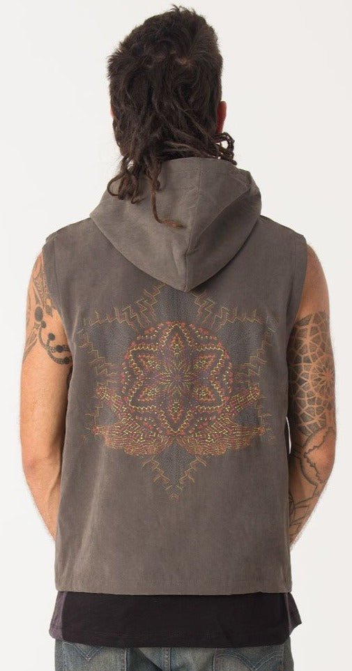 Seed of Life - Anahata Hooded Vest ➟ Olive