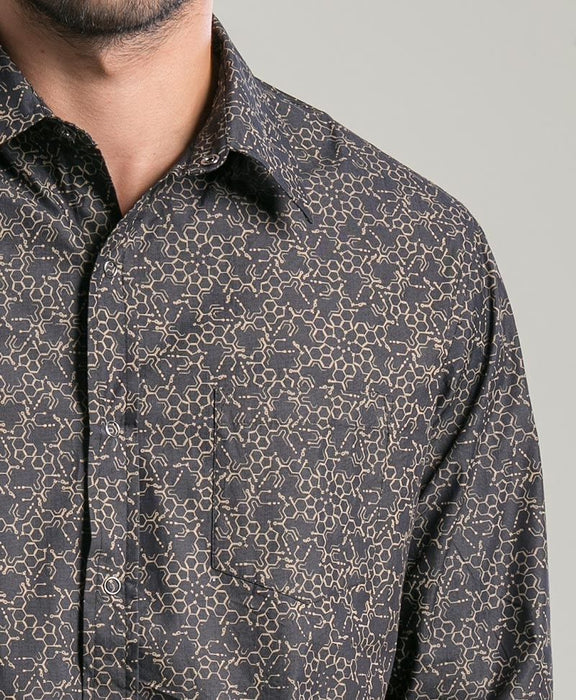 Seed of Life - Black & Gold LSD Molecule LS Button Up