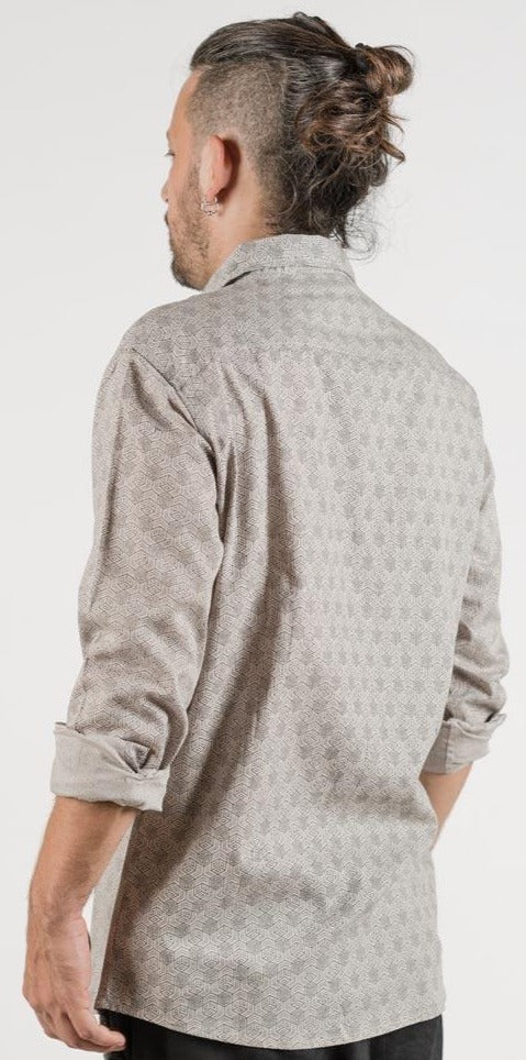 "Seed of Life - ""Kubic"" LS Button Up - Light Grey"