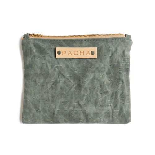 Large Waxed Canvas Field Pouch - Moonlight Grey