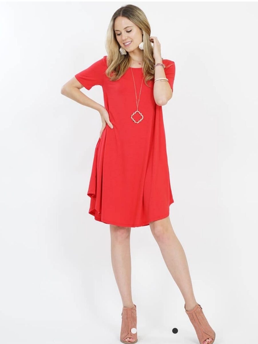 EMILY Ruby Boat Neck Swing Style Dress w/ Pockets