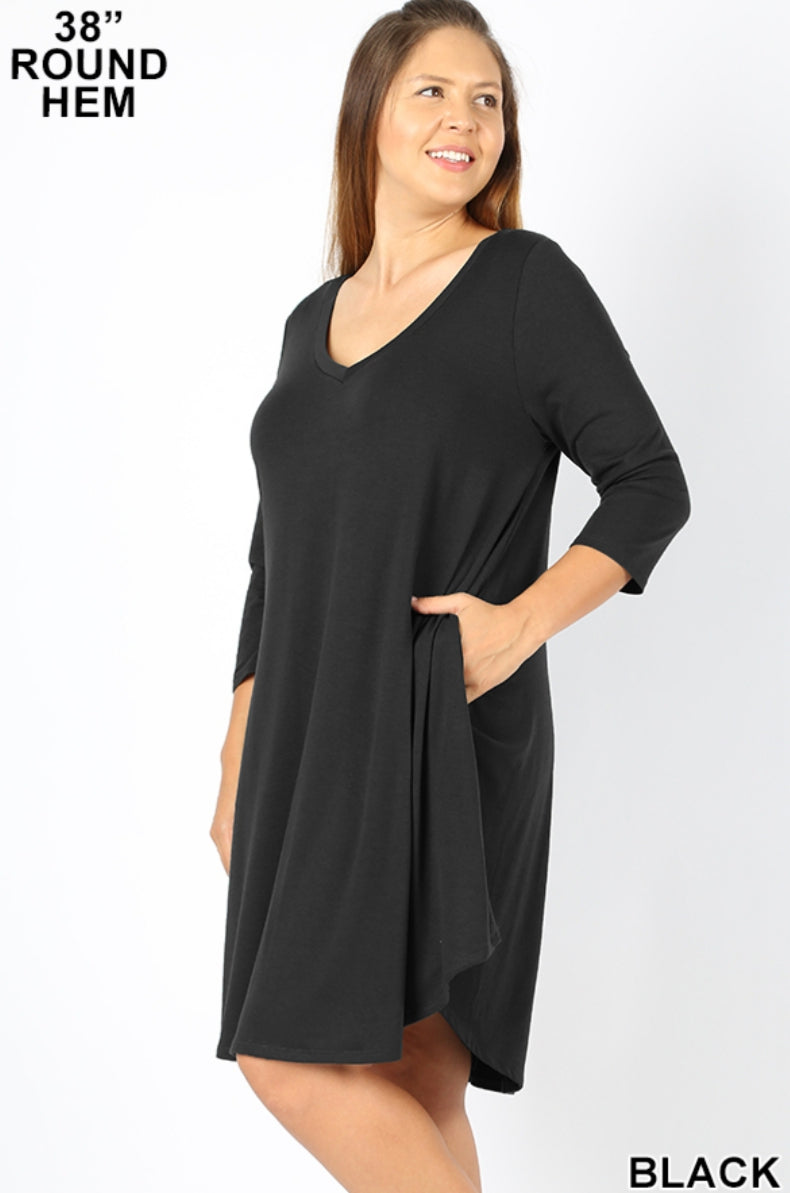 LANE 3/4 Sleeve V-Neck Plus Dress