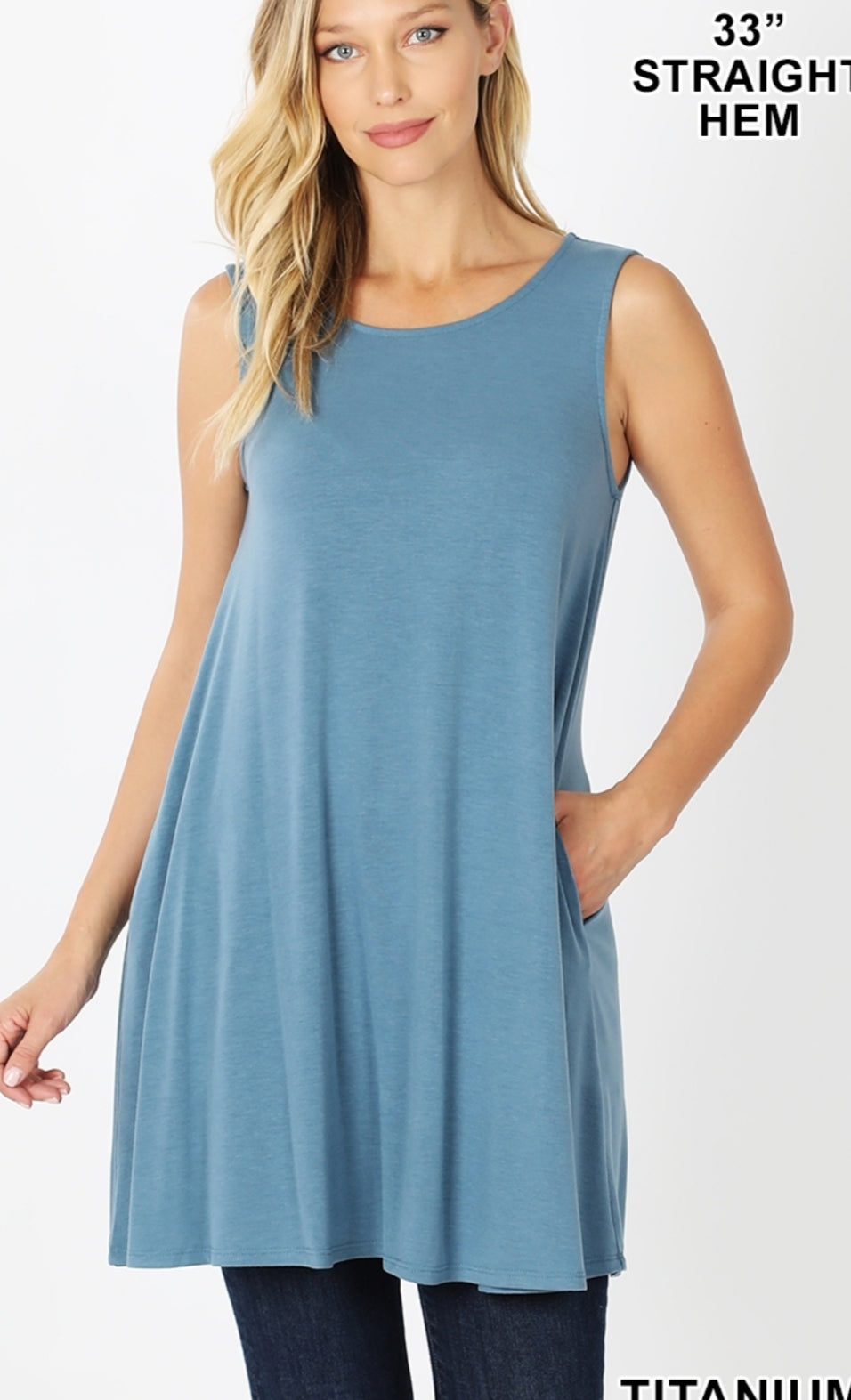 The RORY Titanium Blue Solid Tank Tunic