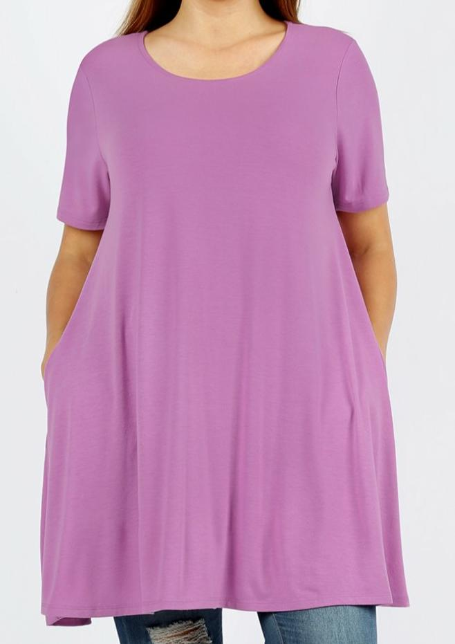 EMILY style MAUVE PLUS SIZE Tunic Top with Pockets