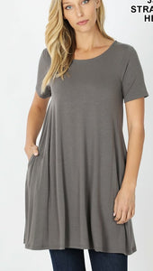 EMILY style GRAY  Regular and Plus SizeTunic Top with Pockets