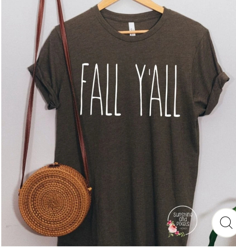 FALL Y'ALL Dark Heathered Gray Graphic Tee Shirt