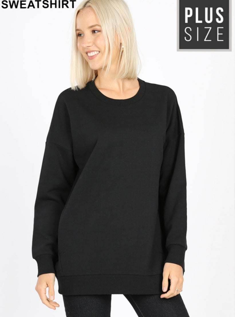 PLUS HOMEBODY BLACK Sweatshirt w/pockets