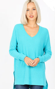 BRAND NEW DAY Soft ICE BLUE Thermal Waffle V-Neck Pullover Tunic