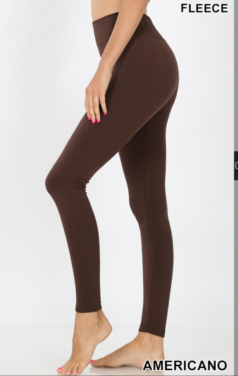 Fleece Lined AMERICANO BROWN high waist Full Length Leggings