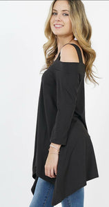 EYES ON YOU Off Shoulder Tunic Top - Black