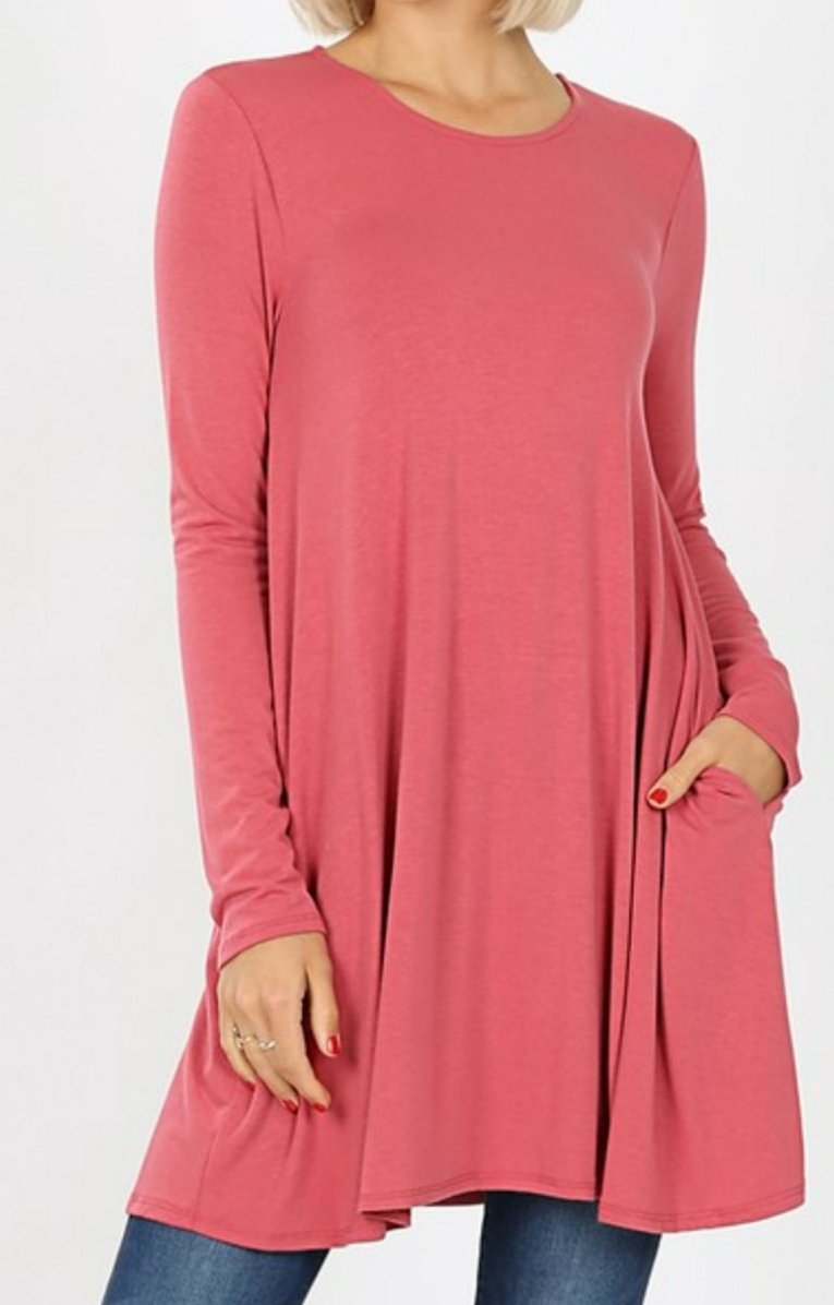 Emily ROSE Long Sleeve Tunic Top with Pockets