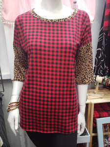 FIRESIDE FUN Buffalo Plaid & Leopard Mix Bella Top