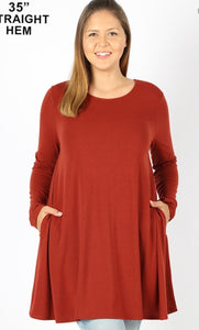 Emily PLUS FIRED BRICK long Sleeve Tunic Top with Pockets