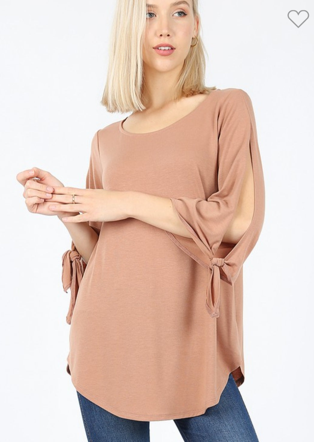 EGGSHELL Side Slit Sleeve Tunic Top
