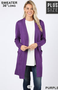PLUS SIZE PURPLE HARMONY Slouchy Pocket Cardigan