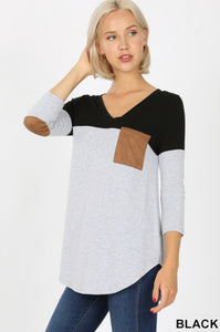 PLUS SIZE AMORE BLACK Color Block Patch Pocket V-Neck Top