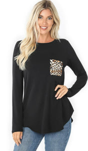RUNNING WILD Black BUTTER SOFT Leopard Pocket Long Sleeve Top
