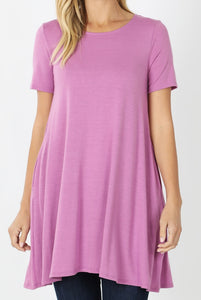 EMILY style MAUVE Tunic Top with Pockets