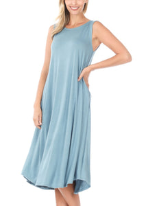PLUS SIZE PURSUIT OF HAPPINESS Blue Midi length Sleeveless Dress