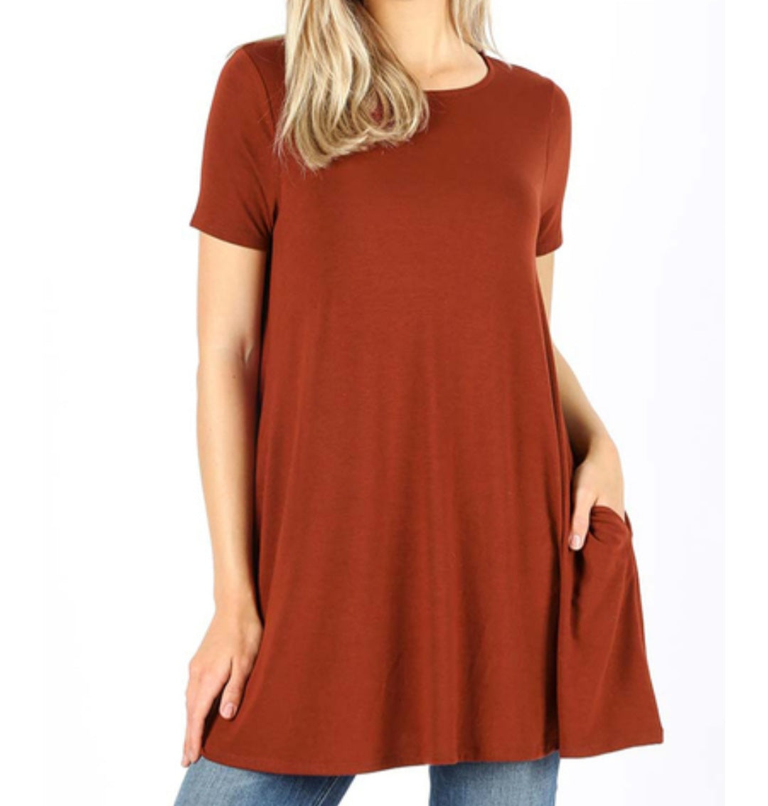 EMILY style BRICK  PLUS Tunic Top with Pockets